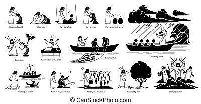 christ, icônes, pictogram., miracles, jésus