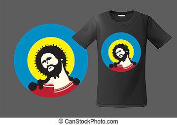 christ, illustration., téléphones, sweatshirts, moderne, usage, jésus, t-shirt, mobile, vecteur, conception, portrait, cas, souvenirs