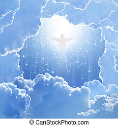 Jesus Christ in blue sky with white clouds and falling stars - heaven, easter