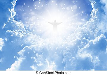 Christ in sky - Jesus Christ in blue sky with clouds -...