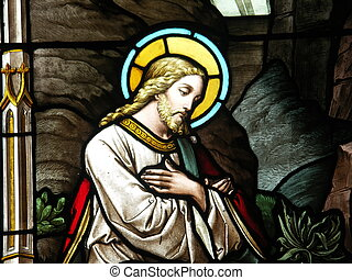 Christ in stained glass - View of the stained glass window...