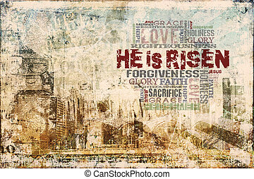"""Christ Is Risen"" Background - Religious Words in grunge..."