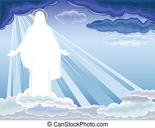 Christ is Risen - The Resurrection of Jesus Christ bringing salvation to humanity. Vector illustration saved as EPS AI8, all elements layered, no effects, easy edit and print.