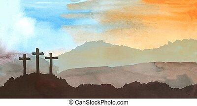 christ., jézus, vízfestmény, húsvét, cross., ábra, színhely