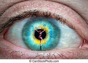 christ jesus croce, riflesso, il, occhio