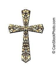 christ, kreuz, gold, aufwendig