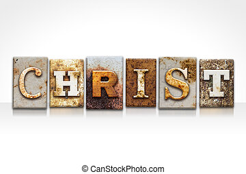 Christ Letterpress Concept Isolated on White