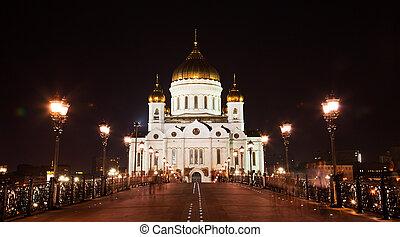 christ, moscou, sauveur, cathédrale, nuit, russie