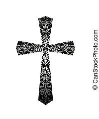 christ, muster, kreuz, (black, white), weinlese, blumen-