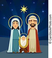 christ., nativity, 神聖, 平ら, family., イラスト, scene., ベクトル, 出生, 漫画