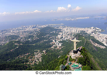 Christ Redeemer and Sugarloaf in Rio de Janeiro - Aerial...