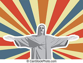 christ redeemer over vintage background. vector illustration