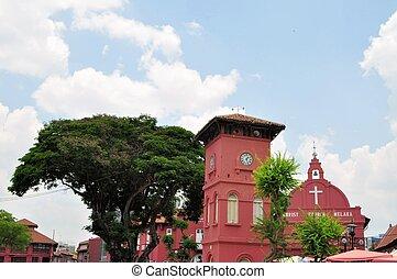 christ, relógio, holandês, Malásia, igreja, torre,  malacca