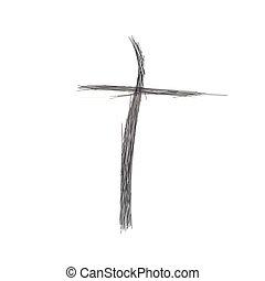 christ., schizzo, fatto, cristiano, contorno, logotipo, simbolo, croce, cristianesimo, cross., lines., chiesa, silhouette, gesù, fuori