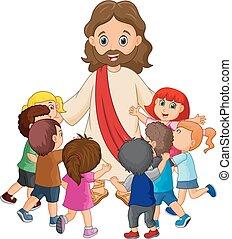 christ, sendo, cercado, crianças, jesus, caricatura