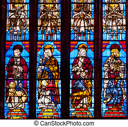 Christ Disciples Stained Glass Seville Cathedral, Cathedral of Saint Mary of the See, Seville, Andalusia Spain. Built in the 1500s. Largest Gothic Cathedral in the World and Third Largest Church in the World. Burial Place of Christopher Columbus.