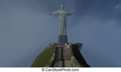 Christ the Redeemer above clouds, Rio de Janeiro, tilt front view