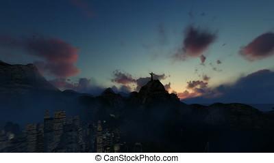 Christ the Redeemer at sunset, camera flight from Rio de Janeiro, Brazil, 4K