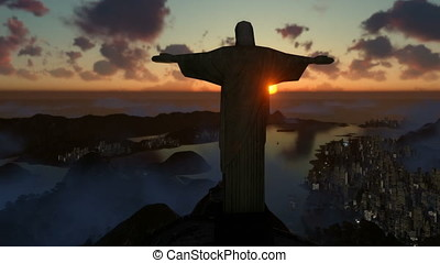 Christ the Redeemer at sunset, camera pan and zoom, Rio de Janeiro, Brazil