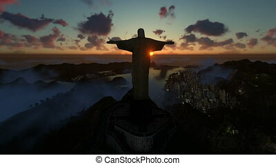 Christ the Redeemer at sunset, camera panning, Rio de...
