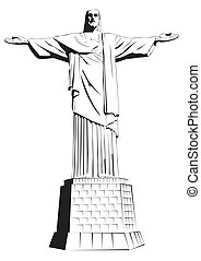Christ the redeemer - detailed vector illustration