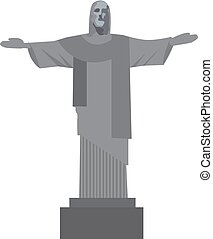 Christ the Redeemer icon flat style. Rio de Janeiro monument, a landmark of Brazil. Isolated on white background. Vector illustration.