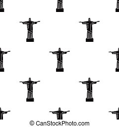 Christ the Redeemer icon in black style isolated on white background. Brazil country symbol stock vector illustration.