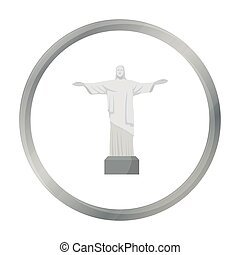 Christ the Redeemer icon in cartoon style isolated on white background. Brazil country symbol stock vector illustration.