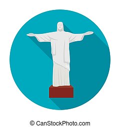 Christ the Redeemer icon in flat style isolated on white background. Brazil country symbol stock vector illustration.