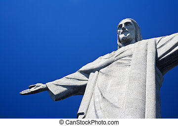 Christ the Redeemer on Corcovado Mountain, Rio de Janeiro Brazil South America The statue stands 38 m (125 feet) tall and is located at the peak of the 710-m (2330-foot) Corcovado mountain in the Tijuca Forest National Park, overlooking the city. As well as being a potent symbol of Christianity its ...