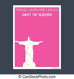 Christ The Redeemer Rio de Janeiro, Brazil monument landmark brochure Flat style and typography vector