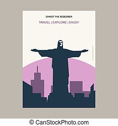 Christ The Redeemer Rio de Janeiro, Brazil Vintage Style Landmark Poster Template