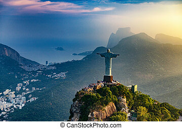Christ The Redeemer statue in Rio De Janeiro. Sunset, shot...