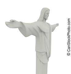 Christ the Redeemer Statue Isolated