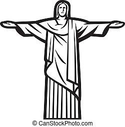 Christ the Redeemer statue - Stylized illustration of Jesus Chris (Rio de Janeiro)
