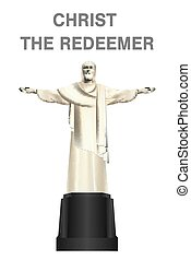 christ the redeemer vector on white background