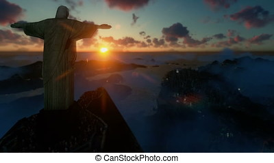 Christ the Redeemer with tourists above clouds at sunset,...