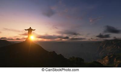 Christ the Redemeerat Sunset, Rio de Janeiro, Brazil, 3D...
