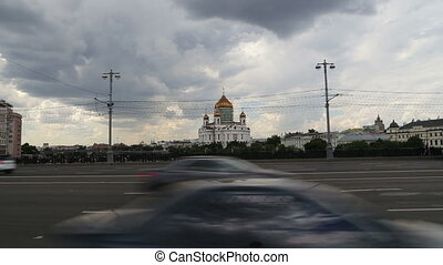 Christ the Savior Cathedral and Daily traffic, Moscow,...