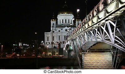 Christ the Savior Cathedral and Patriarshy Bridge (Night...