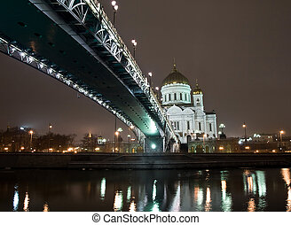 Christ the Saviour Cathedral in Moscow night view with bridge