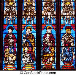 christ, vitrail, cathédrale, de, saint, marie, de, les,...