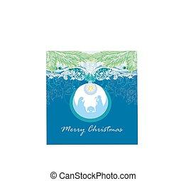 christ, weihnachtsnativityszene, von, jesuskind, in, durchsichtig, kugel, hängen, abstrakt, hintergrund