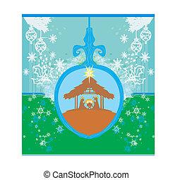 christ, weihnachtsnativityszene, von, jesuskind, in, durchsichtig, kugel, hängen, blauer hintergrund