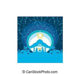 christ, weihnachtsnativityszene, von, jesuskind, in, krippe