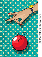 Decorative winter holidays card of a hand holding a Christmas tree decoration