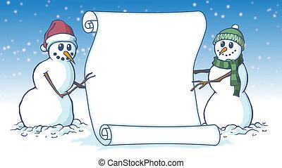 christams, dwa, woluta, trzymał, wesoły, czysty, snowmen, pergamin, karta