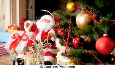 christams, figure, métrage, claus, lumières arbre, appareil photo, 4k, santa, concentrer, babubles, coloré