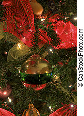 Christams Ornaments on tree - Holiday Decoration