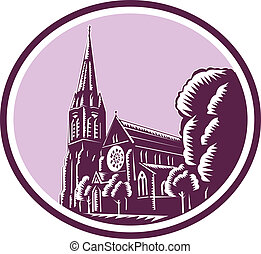 Christchurch Cathedral Woodcut Retro - Illustration of the...